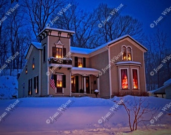 1857 Italianate Victorian Christmas Home for the Holidays Architecture Fine Art Photography Photo Print
