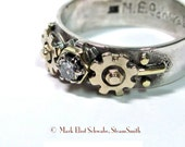 SteamPunk Diamond Ring - gears, hex nut, the key to his or her heart