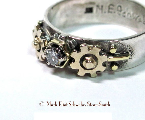 steampunk diamond ring gears hex nut the key to his or her heart - Steampunk Wedding Rings