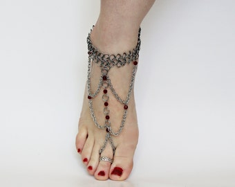 Pair Chainmail bare foot sandal foot flower slave anklet Ruby Red Crystals