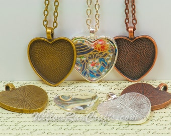 20 Kits, DIY Pendant Kits, Make 25mm Heart Pendant Trays with Glass and Chain, Pick your choice of chain and colors