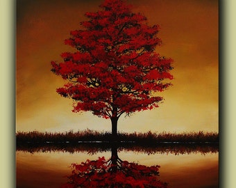 Large Modern Red Tree Landscape Contemporary Art Painting One of a Kind Original Ready to Hang Free Shipping Huge Acrylic Canvas Fine Art