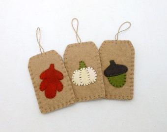 Fall / Harvest Wool Felt Tag Ornaments - Set of 3