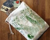 """GIFT BAG / 8x11"""" - SLOTH 2 (Live Slow) - Hand Printed Drawstring Reusable Cotton Bag"""