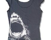 Womens SHARK Scoop Neck Tee - american apparel T Shirt S M L XL (6 Color Options)