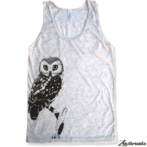 Unisex Urban OWL Tri Blend Tank Top american apparel XS S M L XL (7 Colors)