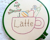 "PDF Embroidery Pattern ""Christmas Latte"" Stitchery Holiday"