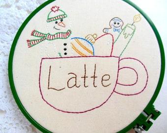 """PDF Embroidery Pattern """"Christmas Latte"""" Stitchery Holiday"""