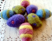 Felt Eggs - 8 Small Needle Felted Easter Eggs - You Choose the Colors - Custom Listing - Wool Needle Felted Eggs