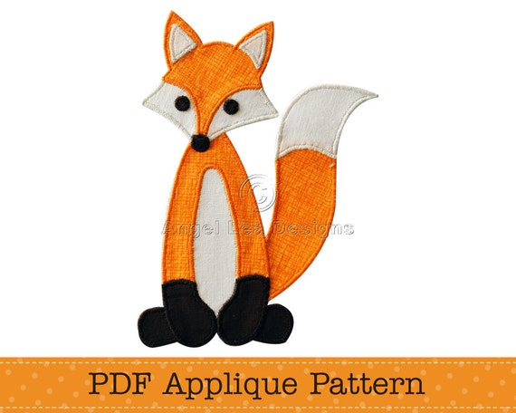 Fox applique pattern pdf fox applique template diy applique for Template of a fox