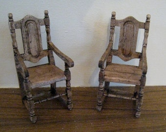 Miniature Medieval chairs, dark oak chairs, two Tudor chairs, twelfth scale, a dollhouse miniature
