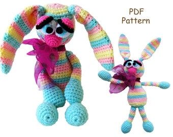 Crochet toy Amigurumi pattern - Rainbow Bunny.