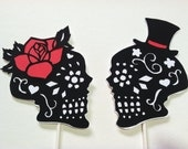 Day of the Dead Skulls, Wedding Cake Topper Silhouette, Hand Cut Paper Original Art, Black and White Set With Color Accent of Your Choice
