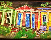 Large Original Acrylic ~~ 'Nighttime Neighbors' ~~  New Orleans
