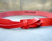 Red Skinny Leather Belt  by Muse 1 inch