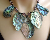 Paua Shell New Zealand Abalone Statement Necklace Iridescent Large Natural shells Macrame Knotted Adjustable Allergy Free Mermaid Jewelry