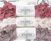 Shabby Crinkled Seam Binding Ribbon, Dusty Pink, Taupe,Rayon Ribbon, French Vintage,Scrapbooking, Sewing, Doll Bear Making,Gallerie Walk -