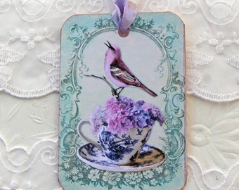 Bird Gift Tags, Paris tags, French Vintage Teacup, Lavender Bird, Bird Lover, High Tea Party, Bridal Shower Favor,  Happy Birthday, Handmade