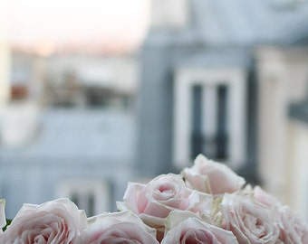 Paris Photography, Paris Apartment, Pink Roses on the Paris Balcony, Valentine's Day Gift, Montmartre Rooftops, Spring in Paris, baby blue