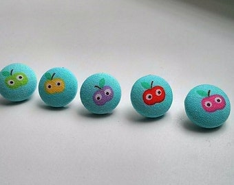 Kawaii Apples with Eyes Light Blue Fabric Button Ear Studs Different Colors