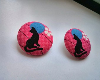Pink and Sakura Black Cat Large Fabric Button Ear Studs