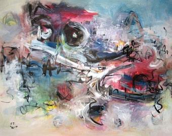 Jovial Abstract Painting, purple blue Art landscape, painting, abstract, abstract landscape, blue and pink , modern landscape, 18x24 sj.kim