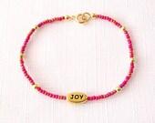 Minimalist Beaded Gold Bracelet - Czech Glass Beads, Brass - Joy - The Skinny: Single Affirmation