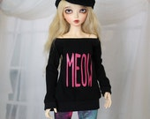 Minifee MEOW Shirt, MNF Black and Pink Shirt 1/4 Size Doll Clothes