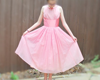 1950's Emma Domb California Pink Party Dress with Tags - New Old Stock - Tulle, Satin Bow