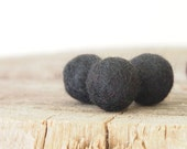 Black Felt Wool Balls, Felted Beads, Needle Felting DIY Craft Crafting Woodland
