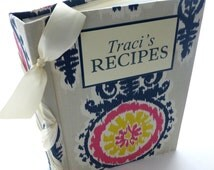 Custom Recipe Book for up to 200 8x5x11 size printables-choose your fabric and ribbon