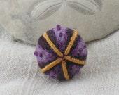 Purple sea urchin adjustable cocktail ring