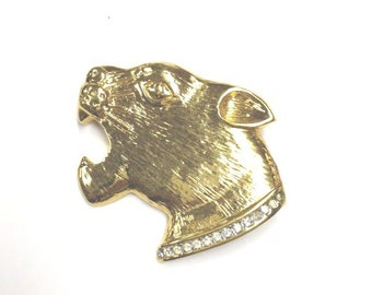 SALE vintage fierce 80s jaguar head brooch signed butler