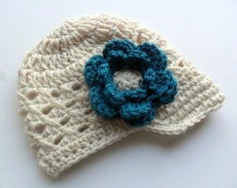 Crochet Baby Hat, Infant Hat, Crochet Visor Hat, Oatmeal /Beige and Teal, Baby Girl Hat, Toddler Girl Hat, Summer Hat, Flower, MADE TO ORDER