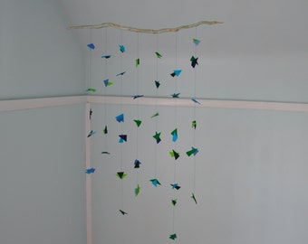 Mobile Driftwood Custom Order Decorative Felt Origami Ocean & Seaweed - Blue and Green