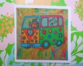 Peace Owl VW Flower Power Mobile Mini Print 4 x 4