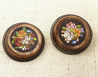 Antique Victorian Goldstone Micro Mosaic Cuff Links on Sterling Setting for Crafting