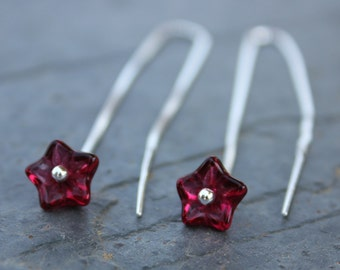 Fuchsia glass flowers sterling silver ear threaders - sleek modern earrings with a deep cranberry red flowers - free shipping USA