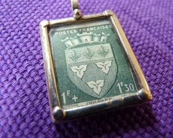 Vintage Stamp Pendant with Sterling Frame-France