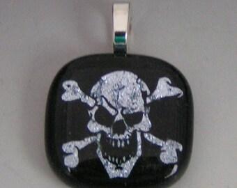 Silver Skull w/ Bones Pendant Dichroic fused glass jewelry w/ cord