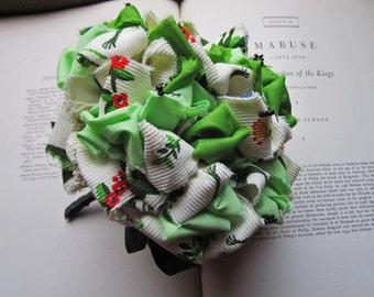Vintage Fabric Bouquet *Kissing Frogs * Wedding Bouquet * Unique Brides * OOAK  Flower Bouquet * Fabric Playful Garden Frogs *