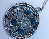 Vintage Silver And Turquoise Medallion Necklace