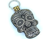Leather Black Sugar Skull Keychain / Keyring / Bag Charm