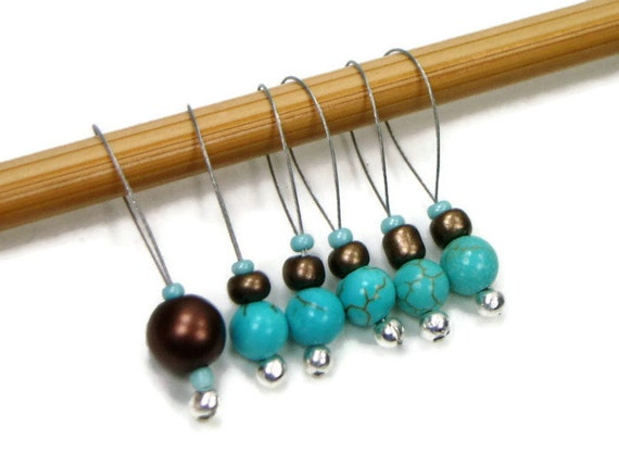 Knitting Markers Beads : Beaded knitting stitch markers turquoise brown by tjbdesigns
