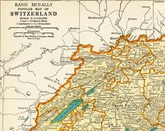 1937 Vintage Map of Switzerland - Vintage Switzerland Map - Switzerland Vintage Map