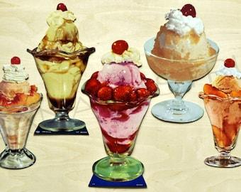 1950s Set of 5 Retro Ephemera Paper Die Cut Ice Cream Sundae / Soda Fountain.  3 of 3