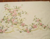 Reclaimed Pillowcase - Shabby Pink Roses and Ribbon Free Shipping