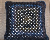 Black Crochet Pillow...Granny Square Pillow..Sofa Cushion Cover