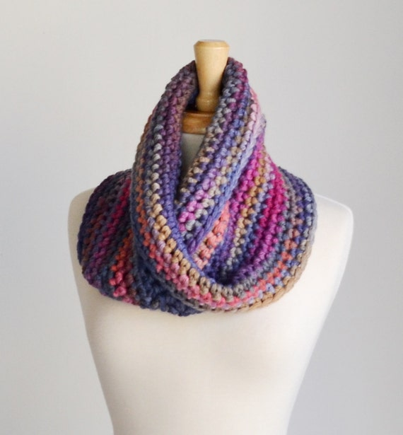 Crochet Scarf Patterns For Bulky Yarn : Bulky Cowl Scarf..Striped Crochet Scarf..Chunky Moebius by ...