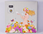 1960s Product Box with Psychedelic Hippie Chick Flowers & Bathing Beauty